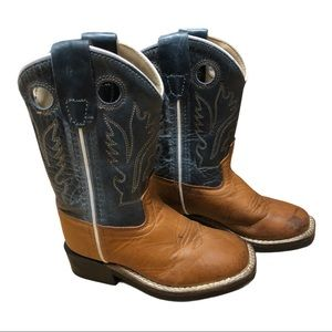 Old West Brown Leather Two Tone Cowboy Boots